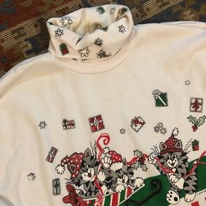 Vintage Sweaters - Vintage Cat Ugly Christmas Sweater size 24